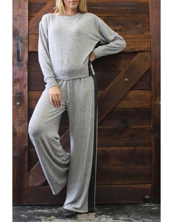 Cozy Colorblock Wide Leg Pants